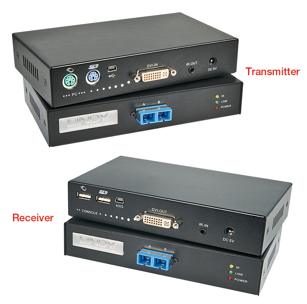 Extender KVM USB e DVI-D su fibra ottica, 1000m